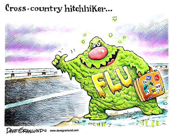 Flu cartoon -- Cross-country hitchhiker