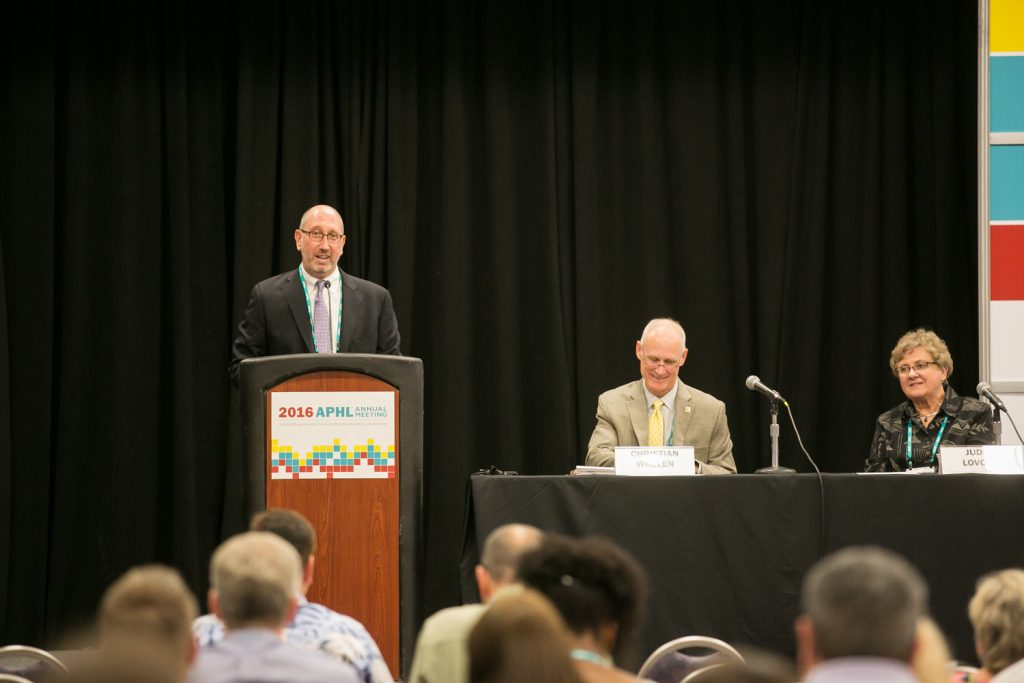 Scott Becker, APHL executive director, welcomes attendees