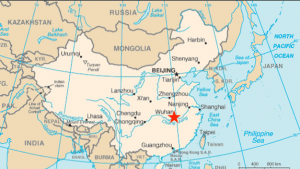 Map of China highlighting Wuhan City where a novel coronavirus has emerged