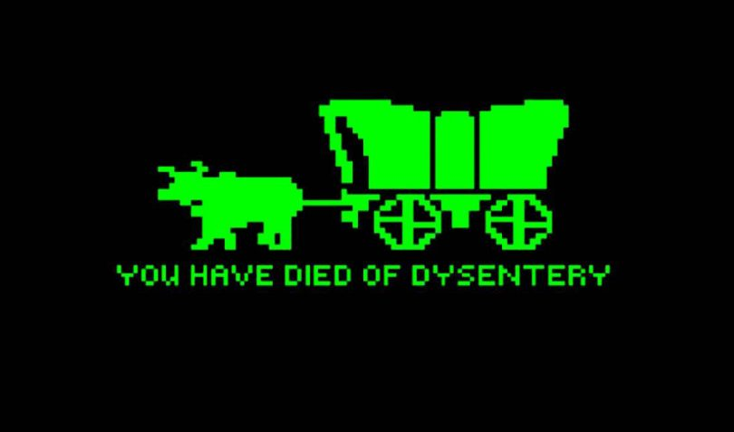"""Image from The Oregon Trail game that says """"You have died of dysentery"""""""