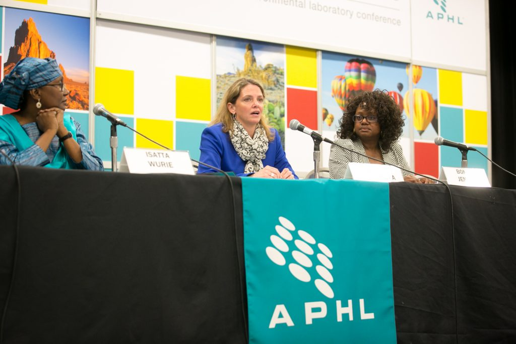 Dr. Isatta Wurie, APHL consultant in Sierra Leone, discusses challenges post-Ebola; Dr. Julie Villanueva, CDC, discusses Zika; Ambassador Bonnie Jenkins, US State Department, discusses the Global Health Security Agenda