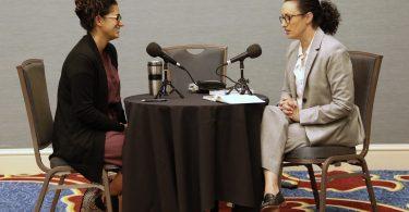 Michelle Forman interviewing Dr. Mona Hanna-Attisha.