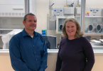 Stefan Saravia and Maureen Sullivan at the Minnesota Public Health Laboratory