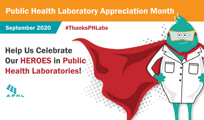 September is Public Health Laboratory Appreciation Month graphic featuring Flat Labby character