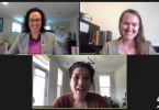 Screenshot of Michelle Forman (APHL), Anna Maria Barry-Jester (Kaiser Health News) and Katherine J. Wu (The Atlantic) speaking during a session at the virtual APHL 2021 Annual Conference.