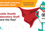 Graphic for Public Health Laboratory Appreciation Month showingFlat Labby wearing a cape.