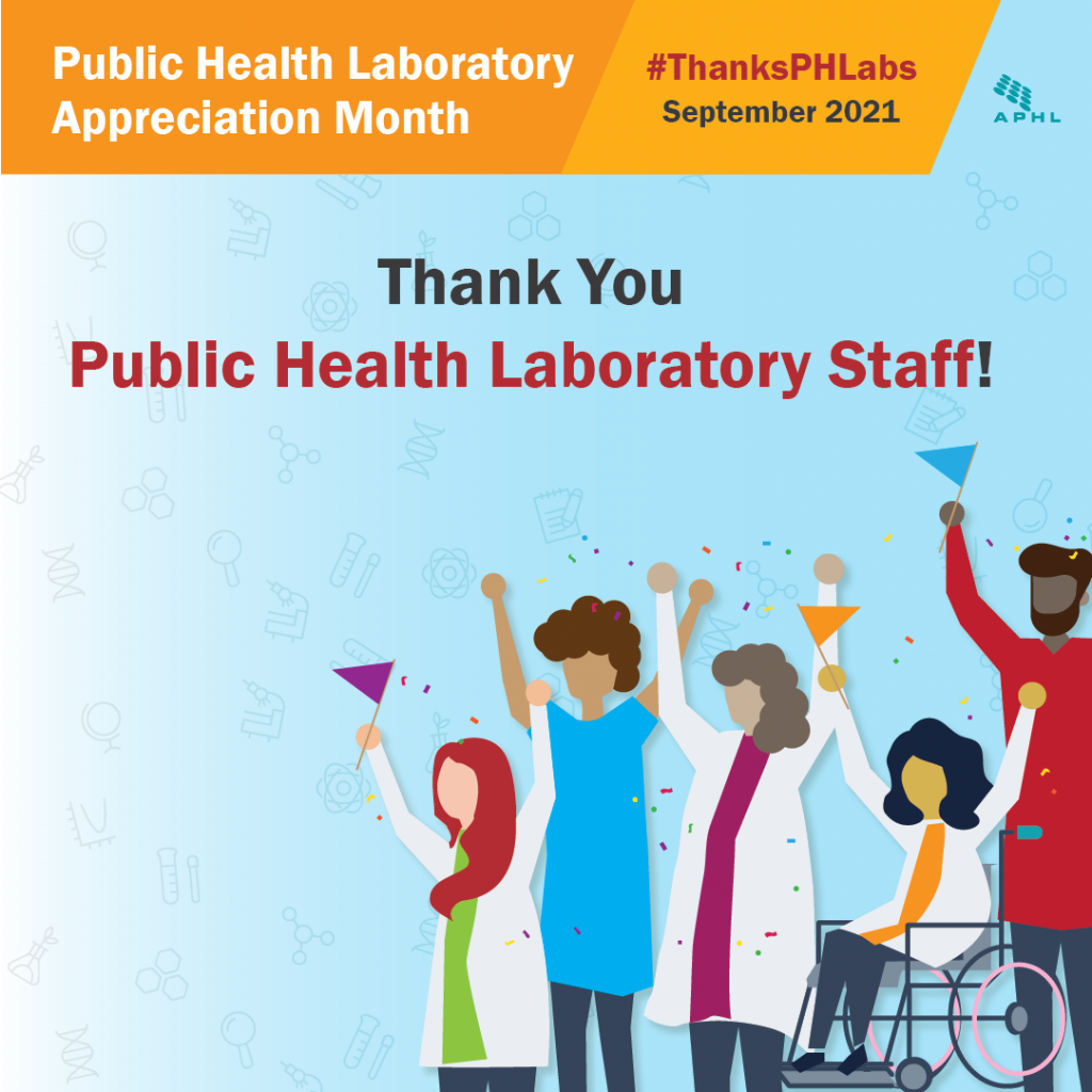 Public Health Laboratory Appreciation Month graphic with diverse characters celebrating