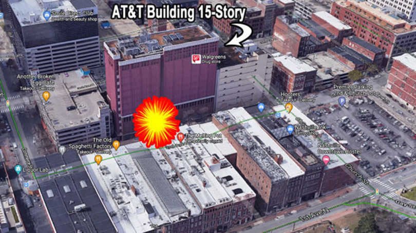 Satellite view of Nashville, TN showing where the AT&T building was in relation to the explosion.